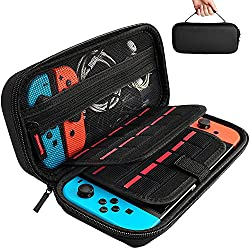 [Nintendo Switch対応] Nintendo Switch専用の保護ケース, 任天堂スイッチ用のキャリングケース,外出や旅行用収納バッグ,ナイロン素材 防塵、防汚、耐衝撃,20個カート ケーブル イヤホンなど小物収納可(ブラック)