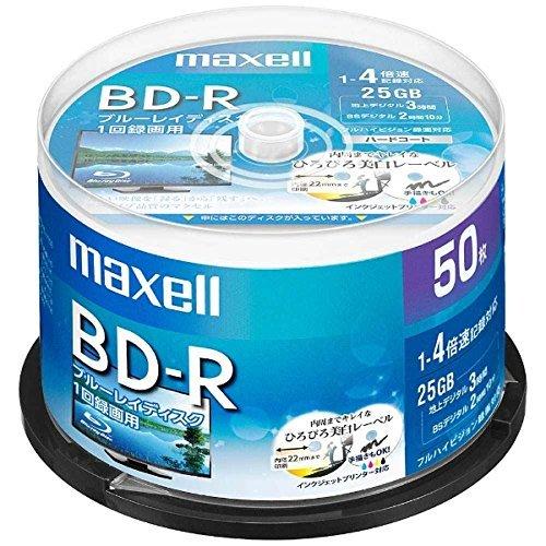 maxell 録画用 BD-R 標準130分 4倍速 ワイドプリンタブルホワイト...