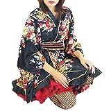 ■AD4142 サテン花柄よさこい着物 フリー ブラック | 総おどり衣装 祭り用品 舞踊衣装