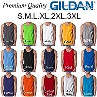 Gildan Blank Plain Tank Top Singlet S-3XL Small Big Men's Cotton Premium Quality Black 3XL