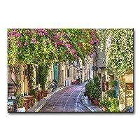 現代ホーム装飾カラフルな花は画像キャンバス絵画壁アートStreet Old Townギリシャ島ギリシャ町風景キャンバスに印刷Gicleeアートワークの壁装飾