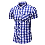 FULLSUNNY_Men Suit Men Shirt Summer Business Leisure Short-sleeved Plus Size Lattice Printing Shirts for Business, Office...