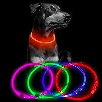 USB充電式LED犬の首輪-夜のウォーキング用の光るペットの犬の首輪ライトアップ犬の首輪小中大犬用の調整可能なサイズ…