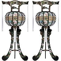 霊前灯 三本足 菊 黒 3号 1対(2台1組) 高さ約100cm 廻転筒付 日本製 行灯 盆提灯 八女提灯