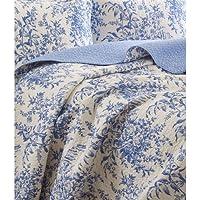 myeasyshopping Kingサイズ100パーセントコットンキルトベッドスプレッドセットブルーホワイト花柄の葉パターンキルトコットンアンティーク手X StitchedパッチワークS Prints