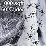 Halloween Fake Spider Web with 60 Fake Spiders Super Stretch to 1000 Square Feet Cobweb Set for Outdoor and Indoor Halloween Decor Spiderwebs and Cobwebs