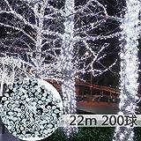 LightsEtc クリスマスイルミ 200球 22m ソーラー充電式LEDイルミネーションledガーデンライト ハロウィン クリスマス パッティー新年祭り 屋外 防水 自動ON/OFF (ホワイト)