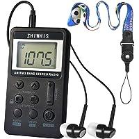 ZHIWHIS ポータブル通勤ラジオ AM・FM2バンドデジタル DSP高感度 ワイドFM対応 ミニAM/FMラジオ LCD液晶ディスプレー ステレオイヤホン付き USB充電式 小型ハンディー 両色選択可 (ブラック)