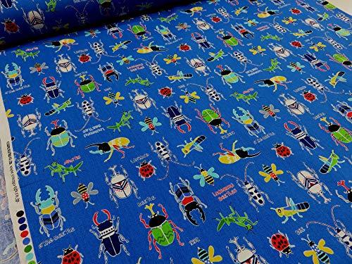 昆虫ビートル ブルー CBプリント          |生地|布|入園入学|キッズ|男の子|