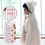 名入れ刺繍代込 ミルフィーユ ギフトセット2(レッド) フード付きバスタオル+スタイ3枚 今治産 (0~3歳用) のし・包装・メッセージカード対応
