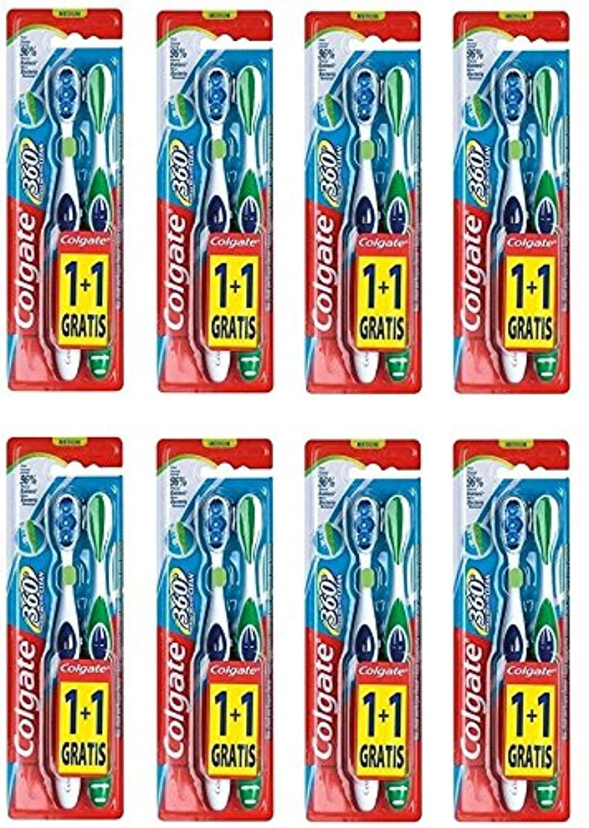 砂のテレビ学校教育Colgate 360 Whole Mouth Clean コルゲート 歯ブラシ 16個 (2 x 8) [並行輸入品]