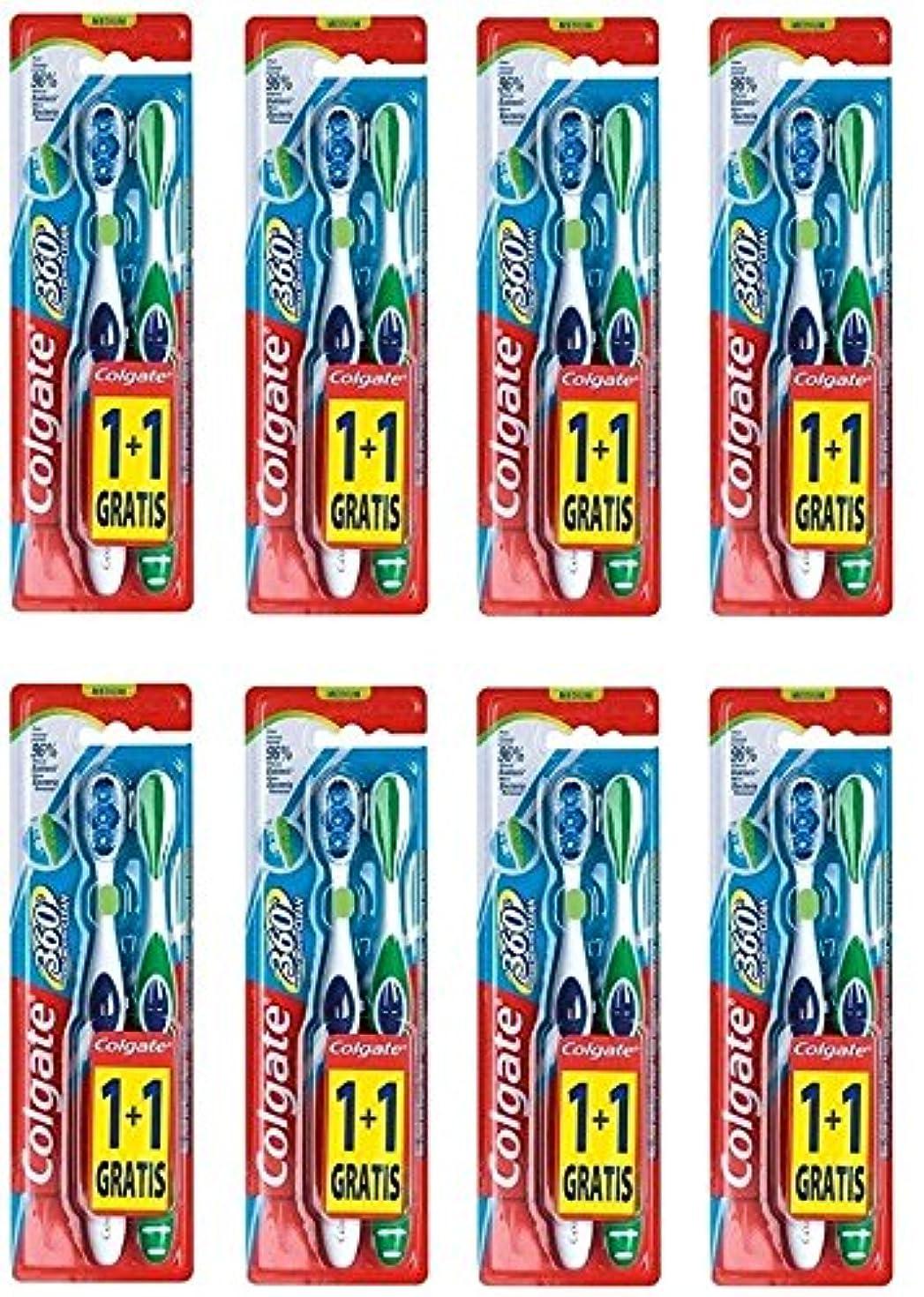 韓国語あごひげ赤字Colgate 360 Whole Mouth Clean コルゲート 歯ブラシ 16個 (2 x 8) [並行輸入品]