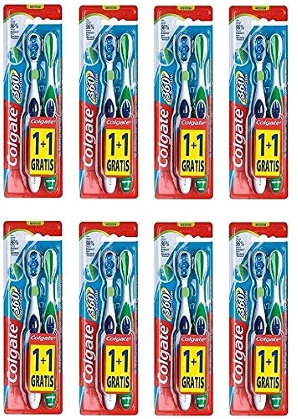 斧フィヨルドColgate 360 Whole Mouth Clean コルゲート 歯ブラシ 16個 (2 x 8) [並行輸入品]