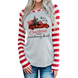 DUDUVIE This is My Hallmark Christmas Movie Watching Shirt Women Funny Red Truck Long Sleeve Christmas Tree Cute Tops Blouse