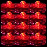 TDLTEK防水水中LEDライトティーライト、ウェディング、パーティー、装飾用( 24Piecesピンク) 24 Pack レッド TDLSBLIGHT00606