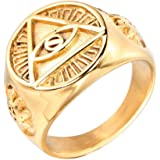 INRENG Men's Stainless Steel Triangle Eye God Ring Vintage All Seeing Gold/Silver