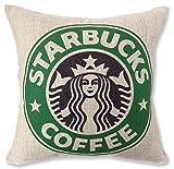Starbucks スターバックス 海外限定 クッションカバー ロゴ プリント 麻 リネン 45*45 カラバリも豊富 (旧ロゴグリーン) [並行輸入品]