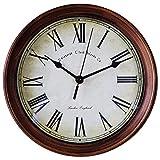 ホームデコレーション おしゃれ 北欧 セイコー クロック ラウンドレトロアイアン製品 サイレント壁掛け時計 直径は25.5センチ (04)