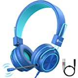 iClever HS21 Kids Headphones with Microphone for Virtual School- Rotatable Extendable Mic - 94 dB Volume-Safe Headphones for