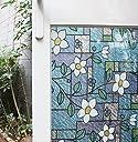 Cviclover 窓 めかくしステンドグラス シート ベランダ浴室装飾 目隠し プライバシー 遮光 窓用フィルム 断熱 紫外線カット 無接着剤 再利用可能 (45 x 200CM, NO.C3CS)