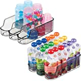 mDesign Small Plastic Kitchen Storage Divided Bin for Child/Kids Supplies - 3 Compartments to Organize Baby Food Jars, Pouche