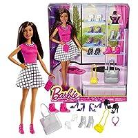 2016年 Barbies You Can Be Anything シリーズ 12インチ 人形セット - ニッキ ピンクのトップスと白の格子柄スカート 靴7足 ネックレス2本 財布2つ ハンドバッグ2つ