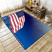 ノンスリップマット3Dプリント星とストライプカーペットカーペット寝室ホールリビングルームフットパッドバナー (Color : A, Size : 40 * 60cm)