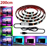 USB LED Strip Light,LHYAN TV Backlight Strip,DC5V 5050 Waterproof RGB Changing Color Strip,Accent Night Monitor Lighting for Flat Screen HDTV TV Desktop PC with Mini Controller (6.56ft/200CM)