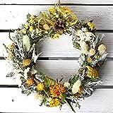 春色リース ミディアム(ドライフラワー)/お花の壁飾り フラワーギフト イエロー系(黄色)