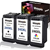 3 Pack Remanufactured Ink Cartridge Replacement for Canon PG 245XL 246XL (2 Black 1 Tri-Color) 245 XL with Ink Level Indicato