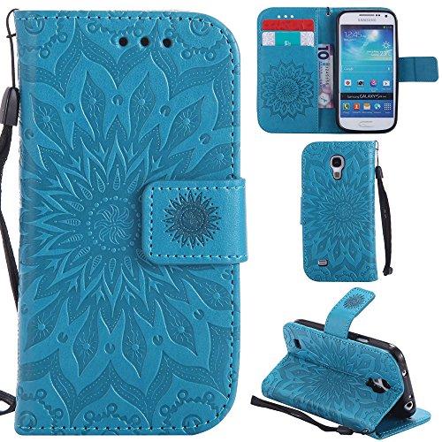 Ooboom Samsung Galaxy S4 Mini ケース ひまわり パターンレザー 便利な保護 フリップ 手帳型 横開き カバー 革 高級PU マグネット式ド収納 スタンド機能 財布型 カバー リストストラップ ために Samsung Galaxy S4 Mini - 青