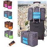 DINIWELL 折り畳みトラベルバッグ&スーツケースベルト 折りたたみ軽量かばん キャリーバッグに乗せて使えるカバンとベルトのセット (ブルー) [並行輸入品]