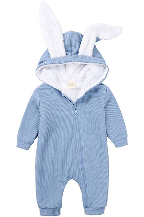 OCEAN-STORE Newborn Baby Girls Boys 0-12 Months Solid Cartoon Ear Velvet Hooded Jumpsuit Romper Clothes