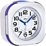 目覚まし時計, めざまし 時計 アナログ 連続秒針 見やすい カチカチならない 大音量 目覚まし 時計 アラーム LEDライト2つ Alarm Clock コンパクト スヌーズ機能 30曲 音楽ループ 高音質 寝室 室内 洗面所 旅行用(青)