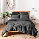 Simple&Opulence 100% Stone Washed Linen Solid Color Basic Style King Queen Twin Full Duvet Cover Sets (Dark Grey Twin)