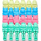 Clothes Pins 48 pack Clips Clothes cute Sturdy Cartoon cat monkey, pig, bear Clothespins Plastic Pegs Clothespin Laundry Wind