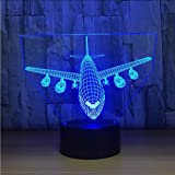 YKL World Airplane Night Light 3D Illusion Lamp 7 Color Changing Touch Control with USB Cable LED Table Desk Decor Lamps Chri