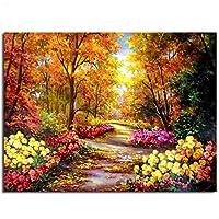 DIY油絵 数字油絵 数字キットによる デジタル絵画 子供や大人の塗り絵 家の装飾のギフト 金色の季節 (フレームなし)