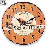 RBB ヨーロッパレトロな時計、時計の部屋、リビングルーム、ベッドルーム、人格、クォーツ時計、単純なファッション時計、創造的なペンダント。,14インチ,71a-09
