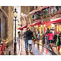 DIY Oil Painting, Soundmae Paintworks Paint by Number Kits, 16*20 inches, for Children, Adults and Drawing Beginner with Brushes and Paints-Romantic Street (Without Canvas Frame)