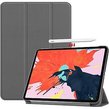 Vikisda iPad Pro 12.9 2018 ケース カバー 高級感PUレザー 超軽量 薄型 傷つけ防止 耐衝撃 三つ折 スタンド機能 2018年モデル iPad Pro 2018 12.9インチ ケース グレー
