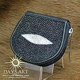 DaysArt(デイズアート)天然エイ皮使用 スティングレー レザーコインケース 小銭入れ 財布 がま口 ファスナー
