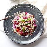セラミックボールラーメンボウル - レトロクリエイティブ不規則なセラミック食器皿フルーツサラダラーメン朝食丸プレート、直径12インチ (色 : B)