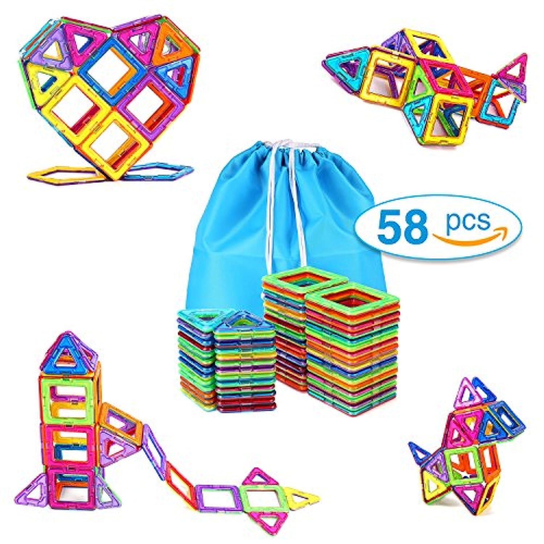 Magnetic Blocks Building Set Toys for Kids toqibo 58pcsマグネットタイル教育建物タイルConstruction Toys for Boys Girls withストレージバッグ