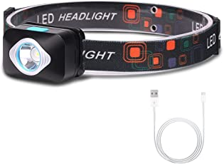 Letmy LEDヘッドライト USB充電式 ヘッドランプ 4つ点灯モード IP54防塵/防水 軽量 SOSフラッシュ機能 角度調節可能 登山 夜釣り アウトドア作業に最適