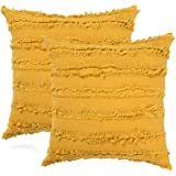 Decorative Throw Pillow Covers for Couch Sofa Bed, Soft Cotton Linen Cushion Covers with Decor Fringe, Accent Pillow Cases fo