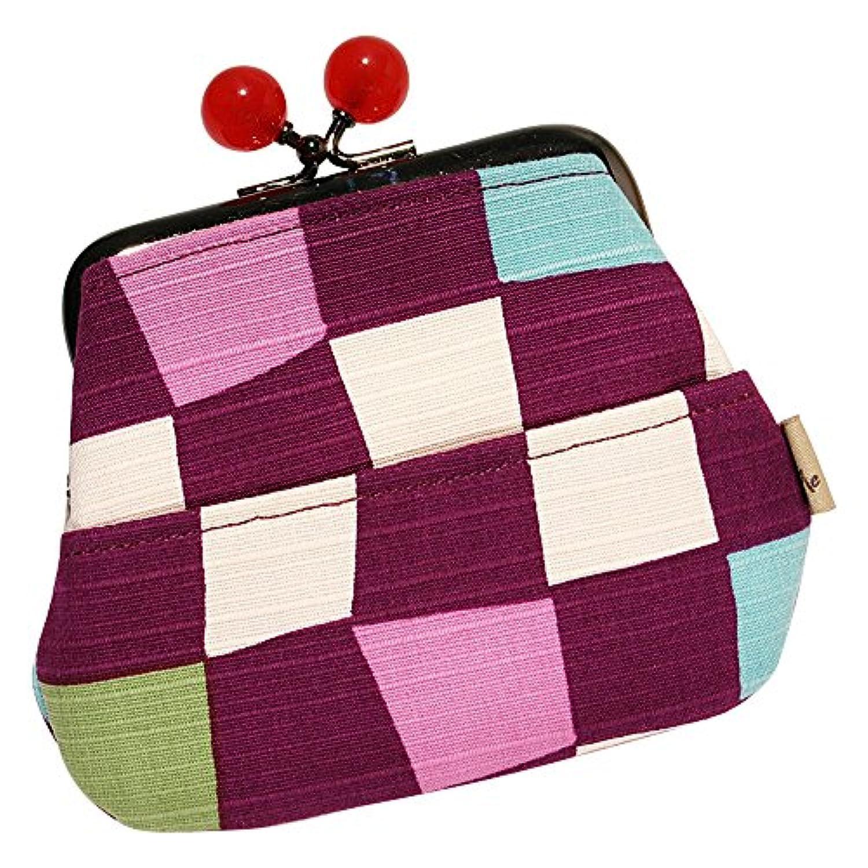 4ポケット 和柄がま口財布 市松 紫