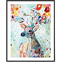 Colorful Deer counted cross stitch kits 14 ct,カラフルな鹿 、40*50cm 150x200point クロスステッチ
