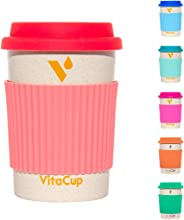 VitaCup Light Weight Coffee Tea Mug with Silicone Lid | Takeaway To Go Travel | Bamboo Fiber | Reusable Environmentally Eco Friendly Portable Dishwasher Safe |12 oz Cup