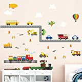 decalmile Construction Transportation Wall Decals Car Truck Plane Boys Wall Stickers Kids Bedroom Baby Nursery Playroom Wall